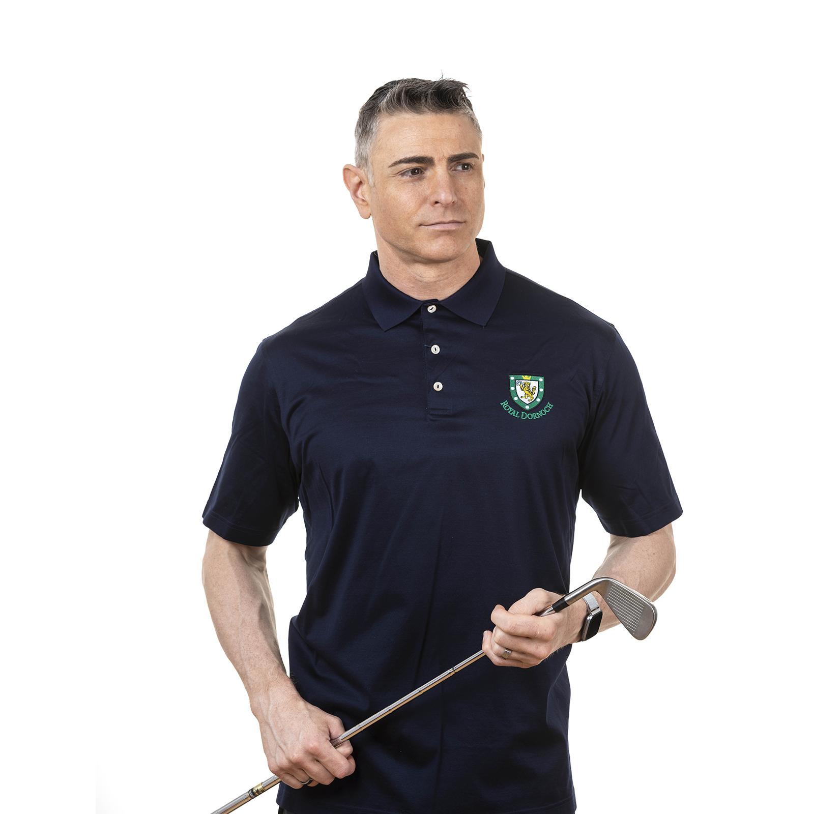 Peter Millar Solid Cotton Polo Shirt Royal Dornoch Pro Shop
